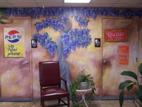 Murals by Bobbi Plentovich Lewis seen at Stuart Rolfe Muffler & Auto, Midlothian - Olde Time Towne