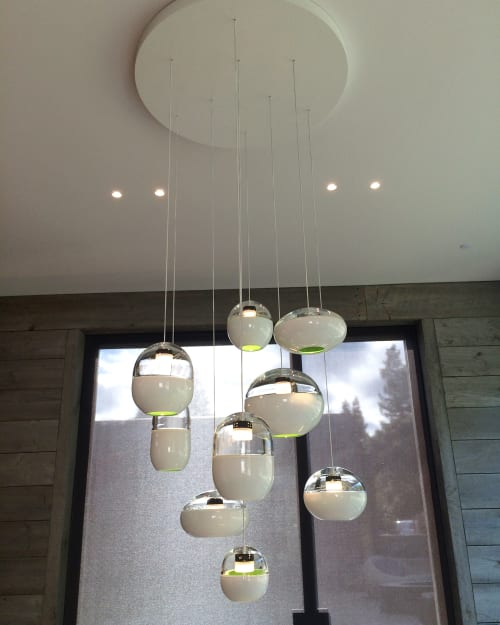 Chandeliers by Jess Wainer seen at Private Residence, Atherton - Wood Grain Chandelier