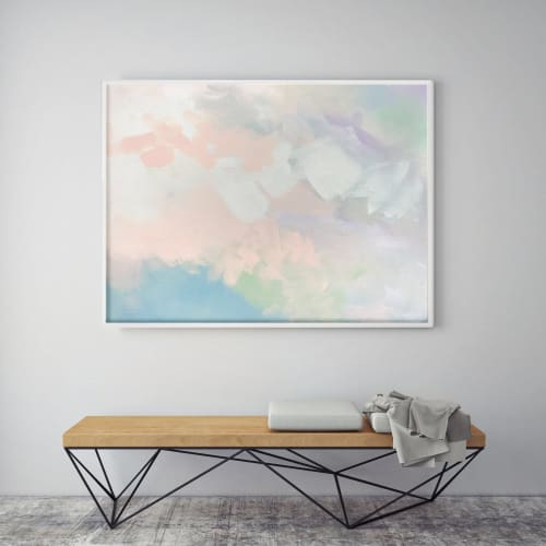 Paintings by Nicolette Atelier seen at Creator's Studio, Washington - Abstract Peach Pair 1