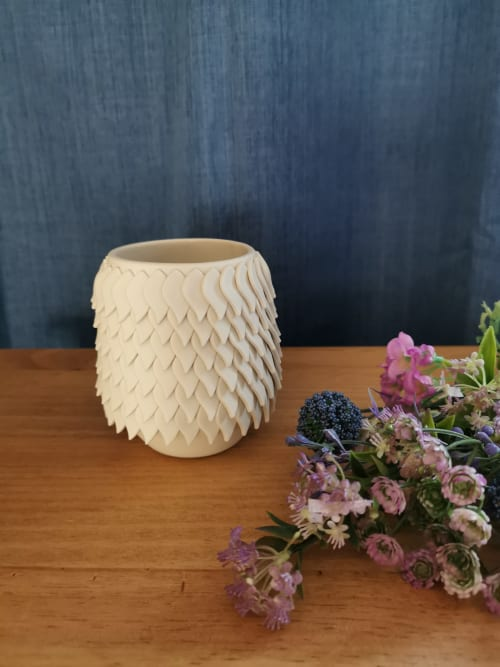 Vases & Vessels by Ruth Harrison Ceramics seen at Private Residence - White Petal Vessel
