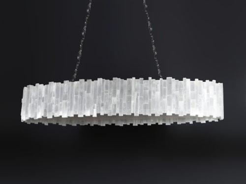 Chandeliers by Ron Dier Design seen at Private Residence, Dana Point - Elliptical oval selenite chandelier