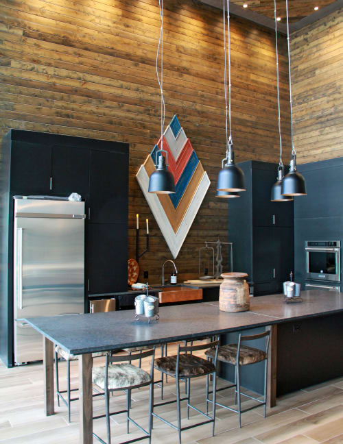 Sculptures by Organik Creative at Ascent Victory Park Apartments, Dallas - Reclaimed Wood Arrows