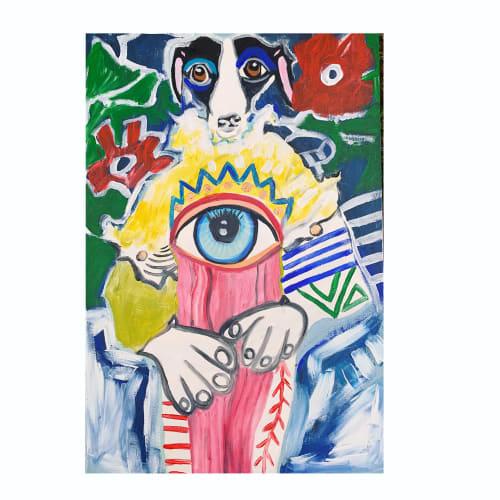 Paintings by Lulu Bella Art seen at Private Residence - Lulu Bella wears patchwork jumpsuit