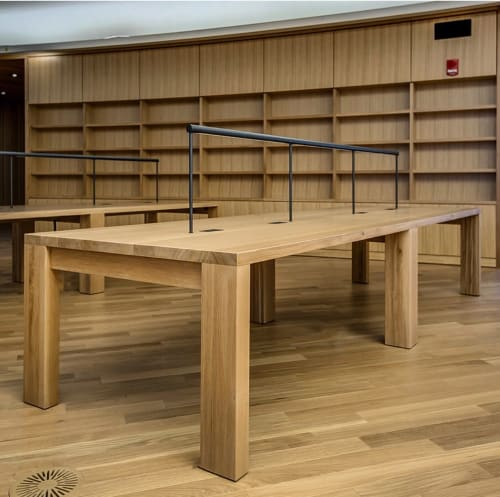 Tables by möbius objects seen at Central Library, Calgary - Solid Oak Reading Library Tables