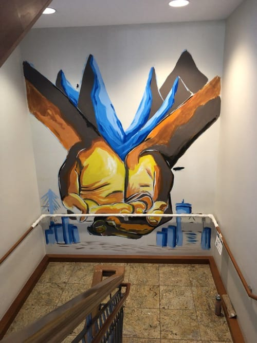 Murals by Big Sam's Paints seen at Boston University Hillel, Boston - Encompass