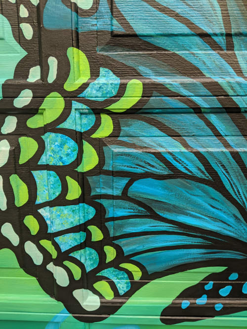 Street Murals by Julia Prajza seen at Etobicoke, Toronto - Butterfly's Paradise - A Vibrant Hand Painted Garage Mural