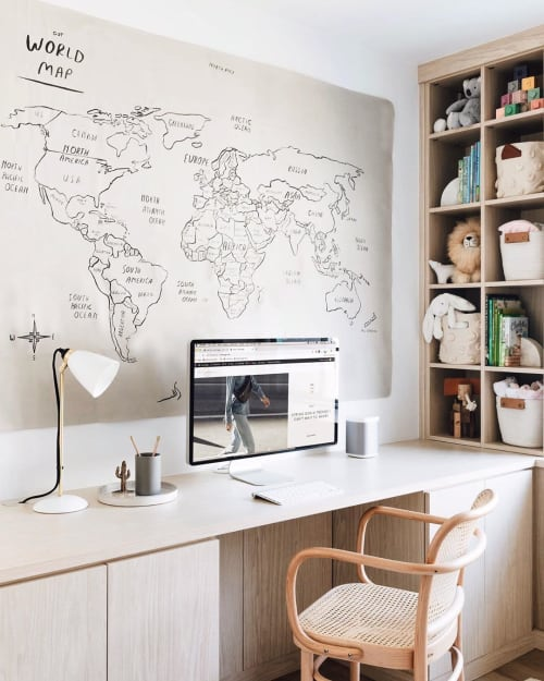 Wall Hangings by Gathre seen at Anne Sage's Home, Los Angeles - World Map