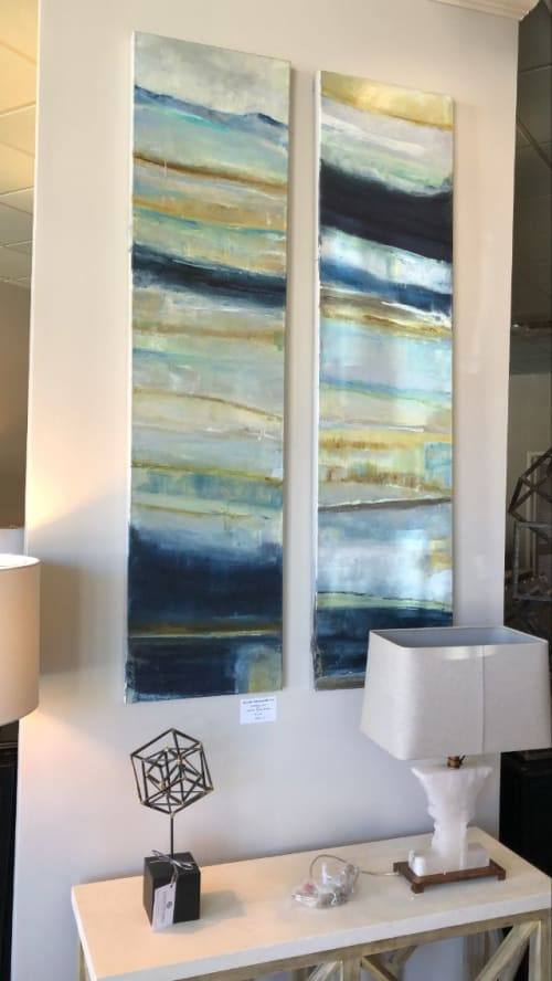 Interior Design by Crystal Eadie Miller seen at Compositions by Steven Ford, Columbia - Two 20 x 60 x 1 1/2  in Blue, gold cream, copper, green Coastal