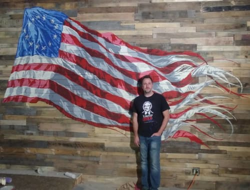 Murals by JALLEN Art and Design seen at Mill City Pub, Fitchburg - Ol' Glory 2018