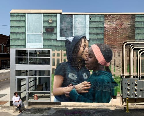 Street Murals by SLIM SAFONT seen at Michigan - STEP SISTERS