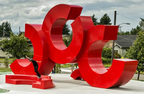 Public Sculptures by CJRDesign at Jackson Park Trail, Seattle - Red Bull Skatespace