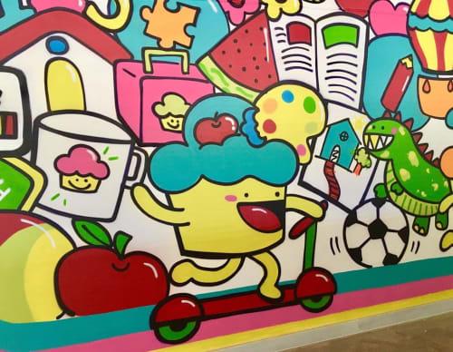 Murals by Bolinho seen at Private Residence, São Gonçalo do Rio Abaixo - Indoor Mural
