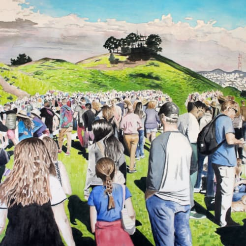 Paintings by Arran Harvey seen at Arran Harvey Studio, San Francisco - Bernal Hill Crowd, 2016, 36 x 36 inches, acrylic on canvas