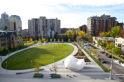 Public Sculptures by Creative Machines seen at Barb Scott Park, Calgary - Chinook Arc