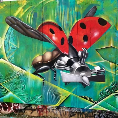 Street Murals by Max Ehrman (Eon75) seen at Clarion Alley, San Francisco - Horsepower Love Bug