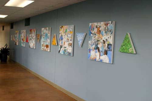 Murals by Trena McNabb seen at Atrium Health's Carolinas Medical Center, Charlotte - Care and Concern