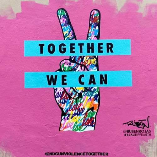 "Street Murals by Ruben Rojas at Rustic Canyon, Santa Monica - ""Together We Can"""