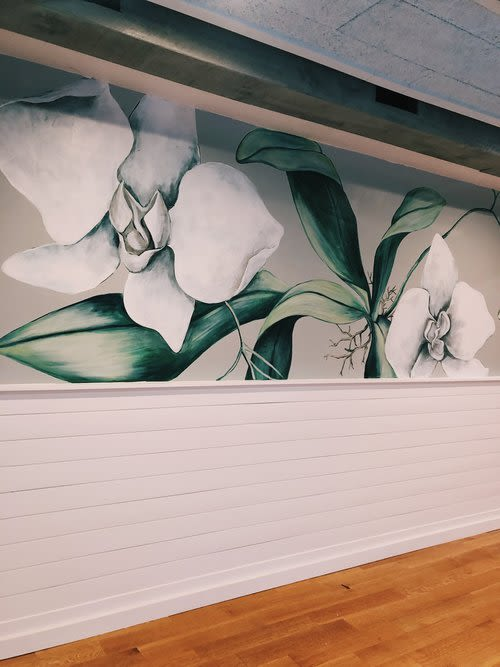 Murals by Charly Malpass Art seen at Private Residence, New Haven - Orchids