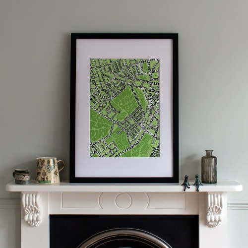Wall Hangings by Mark Smith – Me On The Map seen at Private Residence, London - Nunhead Typographic Streep Map
