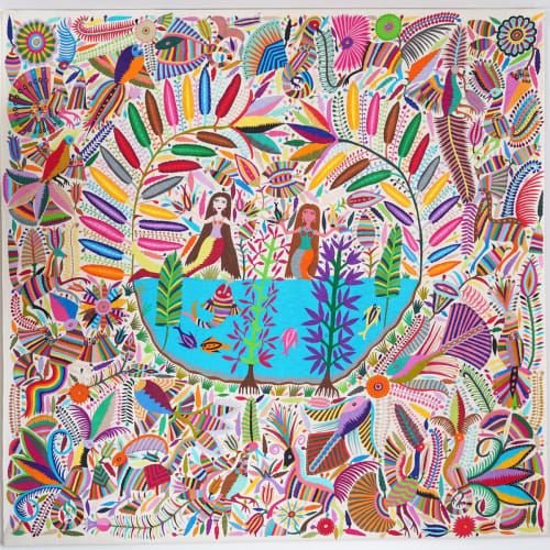 Wall Hangings by Montes and Clark seen at Private Residence, Tisbury - Mexican Wall Hanging, Multicoloured – Mermaids on a Lake