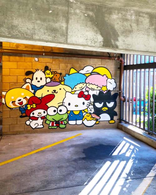 Murals by Darin seen at Montclair Parking Garage, Oakland - sanrio souffle
