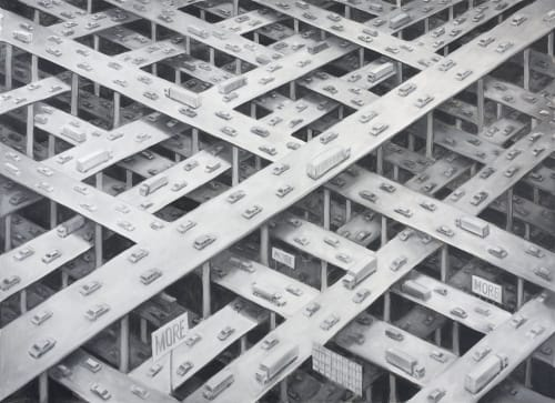 "Paintings by Michael Kerbow seen at Private Residence, San Francisco - ""Gridlock"""