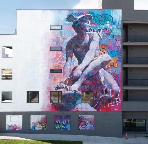 Street Murals by PichiAvo seen at Denver, Denver - Hermes