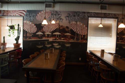 Wallpaper by Candice Kaye Design at Broncos, Toronto - Custom Wallpaper