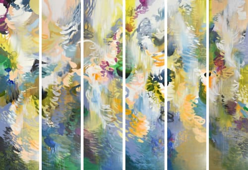 """Paintings by Cat Tesla seen at Chicago, Chicago - Flourish Panels, part of the """"Chrysalis Series"""""""