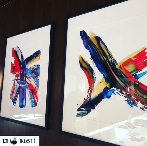 """Paintings by Justin W. Cox seen at Tommy Hilfiger, London - """"Flag"""" - Abstract interpretations of the Tommy Hilfiger logo"""