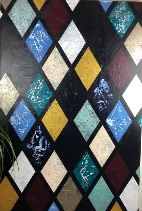 Paintings by Margaret Alice Høiesen seen at Private Residence, Tananger - Black Squares