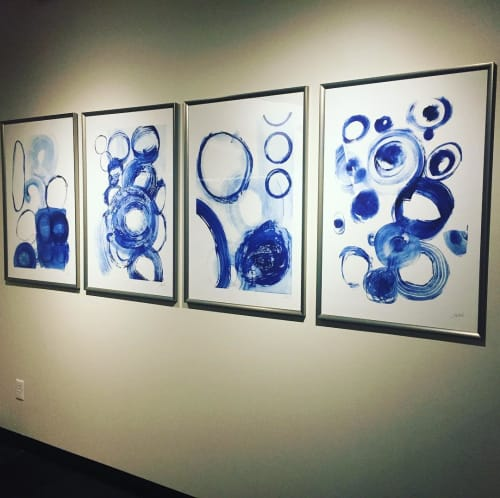 Paintings by Jodi Fuchs seen at Z Gallerie, Los Angeles - Blue Circle series 1 to 4
