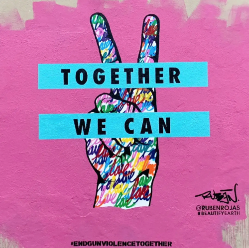 """Street Murals by Ruben Rojas seen at Rustic Canyon, Santa Monica - """"Together We Can"""""""