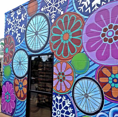 Street Murals by Christine Rose Curry seen at Castle Rock Bike & Ski, Castle Rock - Alley Way Mural at CR Bike & Ski