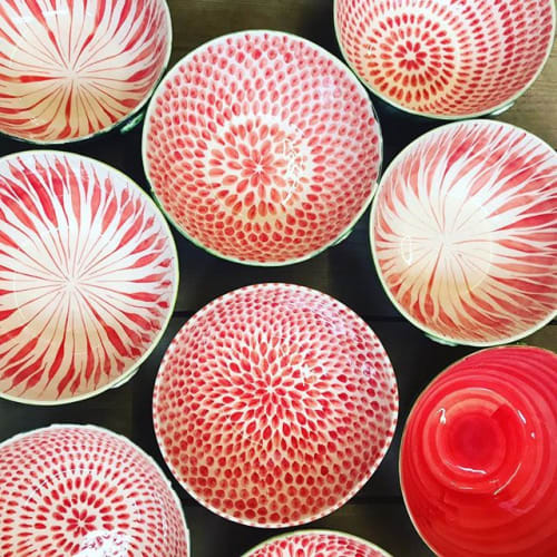 Ceramic Plates by Miranda Berrow Ceramics seen at Private Residence, London - Melon Bowls