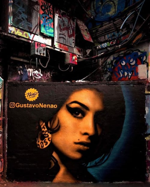 Architecture by Gustavo Nénão seen at Leake Street Arches, London - Amy Winehouse