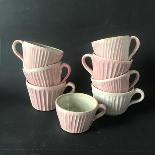 Cups by Tamsin John Pottery seen at Private Residence, Bristol - Fluted Pink Hand Carved Tea Cups