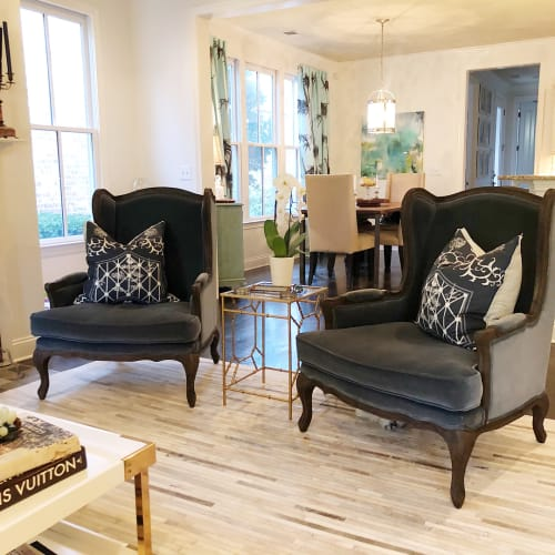 Pillows by Cotton & Quill at Private Residence, Franklin - Navy Koi Pillows