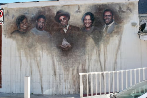 Street Murals by Suzy Schultz seen at Langford's Barber Shop & Style, Atlanta - Historical Figures of Kirkwood