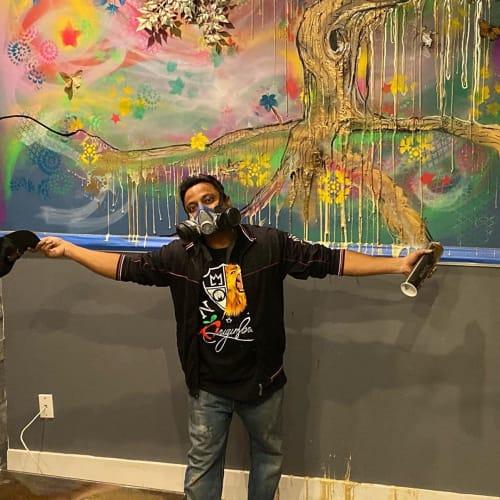 Street Murals by Nicholai Khan seen at Shirazi Cafe, Queens - mural