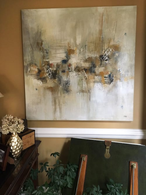 "Paintings by Christina Doelling, Abstract Artist seen at Private Residence, Roswell - Special Commission | 48x48"" pair"