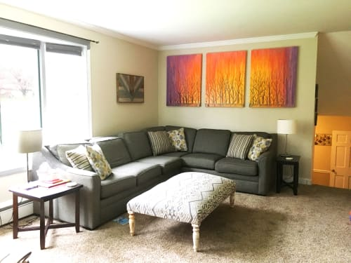 Paintings by Rachel Brask Studio, LLC seen at Private Residence, East Greenwich - Painting  Commission of Rainy Forest Sunset Triptych by Rachel Brask