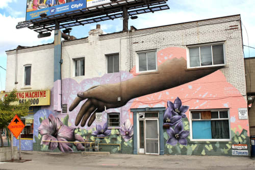 "Murals by Ryan Smeeton seen at York-Eglinton BIA, Toronto - ""Together We Grow"""
