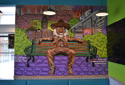 Murals by Hennessey In The Home seen at Tipsy Taco Clemson, Seneca - Pancho Character