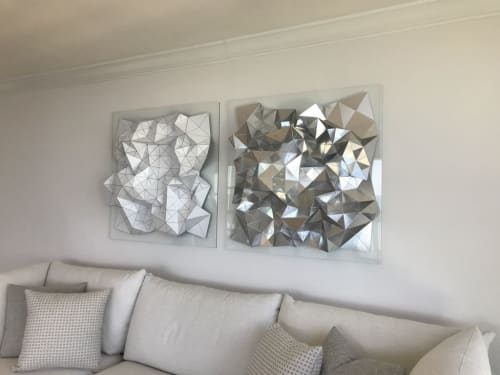 Sculptures by Sandra Szkolnik seen at Private Residence, Key Biscayne - Dyptich in white and silver