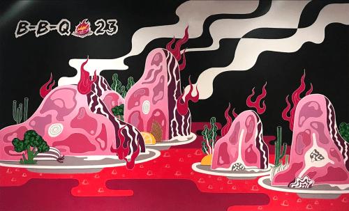 Murals by Daren Lin 大任物 seen at BBQ 23, Wayne - Fire Mountain