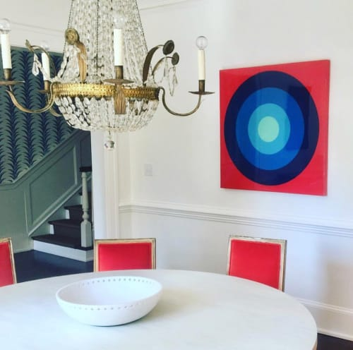 Paintings by Stephanie Henderson Paintings at Private Residence, Atlanta - Ultra Glossy Target Practice on Red