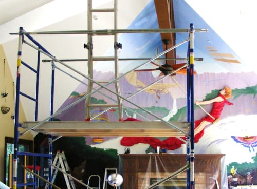 Murals by Richard Stanley seen at Private Residence, Port Severn - 'Dawn of Aviation'  Mural