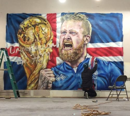 Murals by Maxfield Bala Creative seen at Private Residence, Reykjavík - Iceland Football Mural
