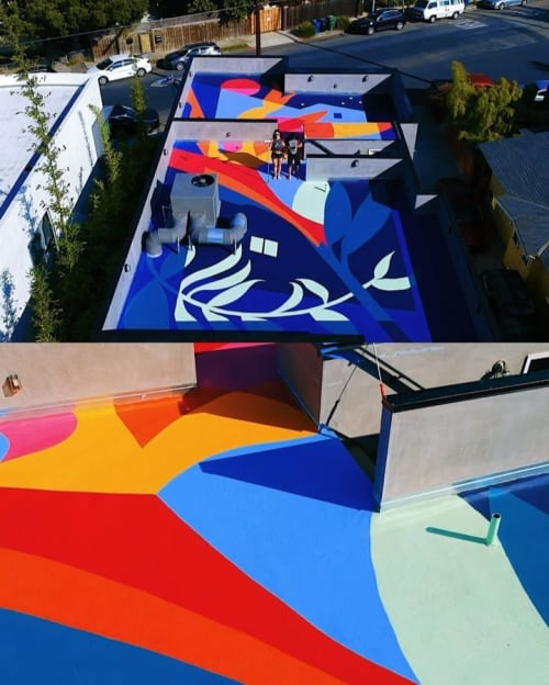 Murals by Mika Revell Fine Art X Little Pink Pills seen at Venice, Los Angeles - Rooftop mural